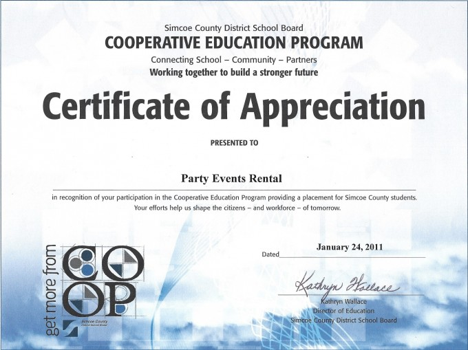 Events Amp Westway Tents Certificate S Of Appreciation